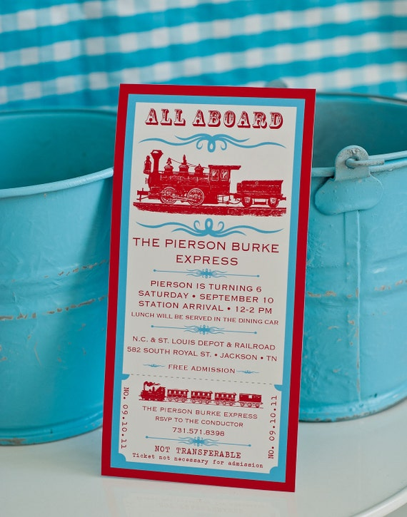 Vintage train ticket birthday red and aqua printable for 4x8 wedding invitations