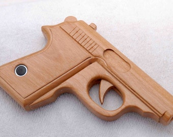 Hand-made wooden toy gun, to scale Walther PPK, moving trigger ...
