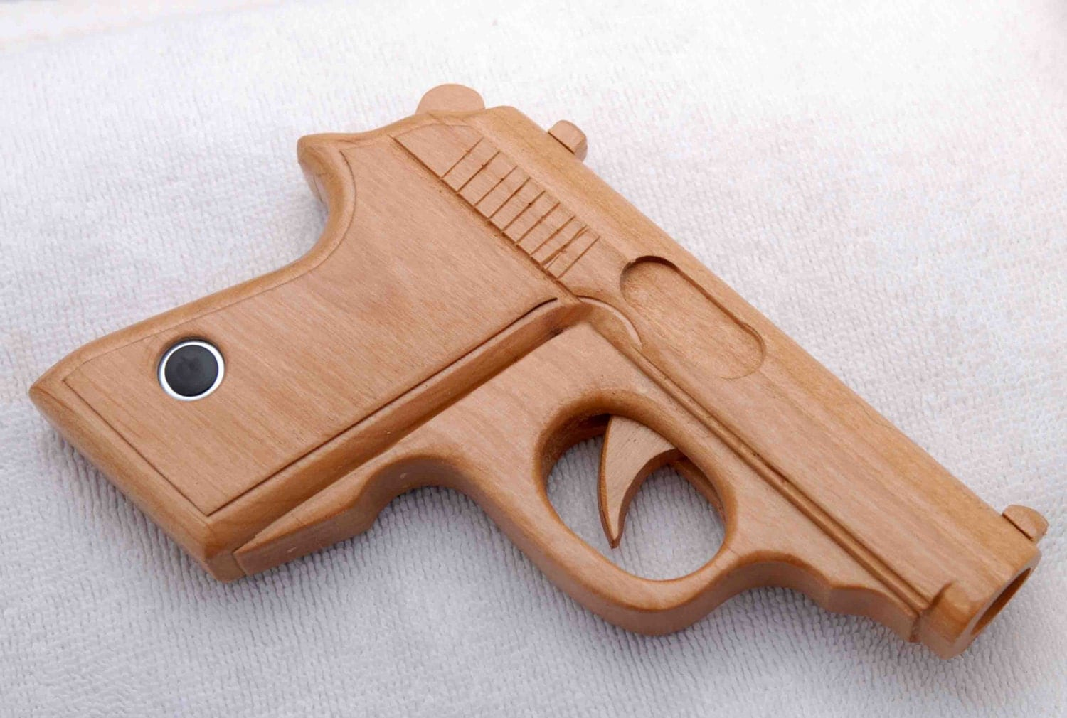 Hand-made wooden toy gun to scale Walther PPK moving trigger