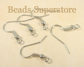 SALE 18 mm Platinum French Ear Wire with Bead and Coil - Nickel Free and Lead Free - 50 pcs