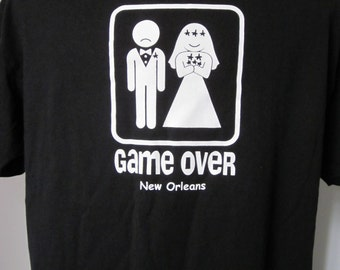 WEDDING-GAME OVER-Tee Shirt Black Vintage 90's- Game Over-Bride and Groom Sign Bachelor Party Shirt Wedding Newlywed