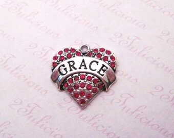 Grace Crystal Heart Pendant Antique Silver Affirmation Word Charm Red