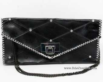 Unlined Leather Clutch, 100% hand made and hand stitched