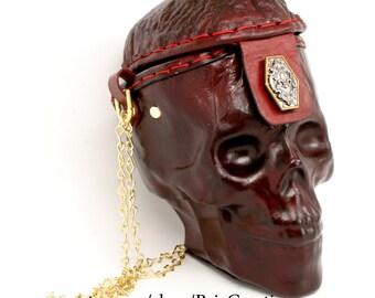 CUSTOM MADE Life Size Leather Skull Purse