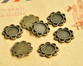 20pcs Antique Bronze Filigree Flower Round Cameo Cabochon Bases Match 8.3mm K268