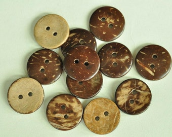 20pcs 18mm Natural Coconut Shell Buttons Round Buttons 2 Holes Buttons Sewing Fabric MT229