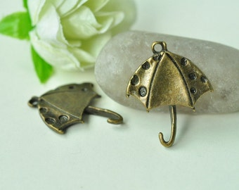 15pcs Antique Bronze Unfolded Umbrella Charms 27x22mm MM613