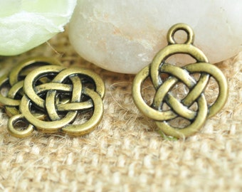20pcs Antique Bronze Chinese Knot Charms 16x19mm MM425