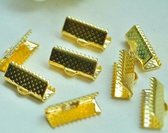 60pcs Gold Plated Leather Crimp End For Ribbon End Cord Fastener Clasps 16mm XJ036
