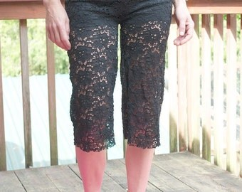 BLACK LACE  yoga lounge beach summer festival capris with shorts liner optional