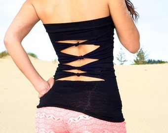 rayon spandex black tube top with back slits