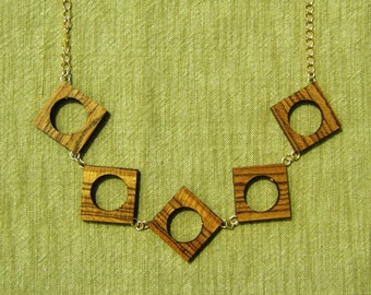 Open Square Bocote Wood Necklace