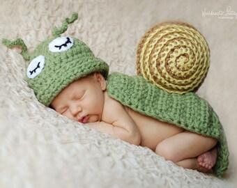 Ready To Ship Snail Hat & Cape Set Newborn Baby Crochet