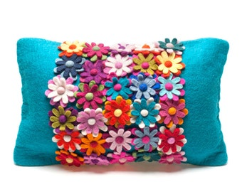 Bliss Cushion - Needle Felted Cushion - Handmade Wool - Home decoration - Felt Flowers