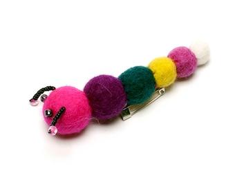 Caterpillar Brooch -  Needle Felted Brooch - Handmade Wool - Felt Animal Accessory