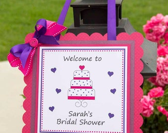 Wedding Cake Hanging Welcome Sign- Pink and Purple