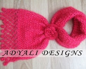 Crochet neck scarf with floral,crochet neck warmer,pink,fuchsia