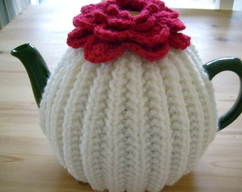 Knitted Tea Cosy with Flower Topper