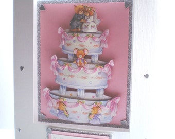Wedding cake decoupage card, handmade,personalise