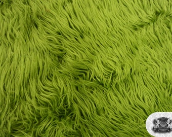 """Faux Fur Long Pile Mongolian Olive Green Fabric / 60"""" Wide / Sold by the yard"""