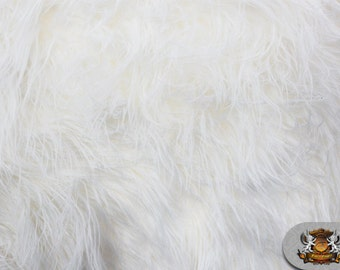 "Faux Fur Long Pile Mongolian White Fabric / 60"" Wide / Sold by the yard"