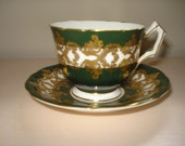 Green and Gold Aynsley Bone China Tea Cup and Saucer