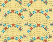 "LAST PIECE!! - Scoot by Riley Blake - Yellow Train - 34"" x WOF - Cotton Quilt Fabric - Designed by Deena Rutter (W31)"
