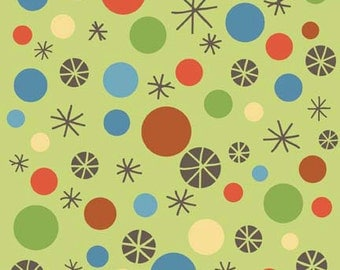 """SUPER CLEARANCE! 14"""" REMNANT Riley Blake Scoot - Green Dots - Cotton Quilt Fabric - by Deena Rutter (W25)"""