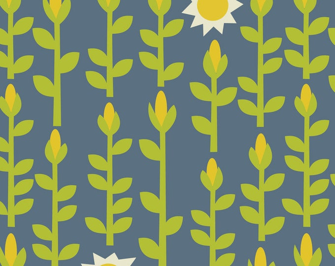 SUPER CLEARANCE! One Yard Crabtastic Corn Maze Blue Cotton Quilt Fabric - by Maude Asbury for Blend Fabrics (W13)