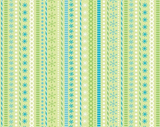 SALE!! - Half Yard Santa's Workshop Stripe in Green - Christmas Cotton Quilt Fabric by Doodlebug Designs for Riley Blake (W46)