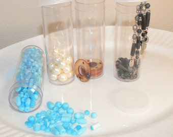 Hard Plastic Clear Tube Containers, Bead Containers, Loose Storage Tubes, Supplies, Organize Containers, Destash (S1)