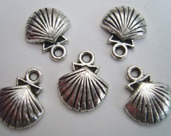 Silver shell charms nautical pirate pack of 10 CS003 BOGOF 20 for price of 10 see note