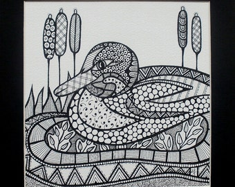 Original Doodle  Duck Pond Ink Drawing Mounted & Framed