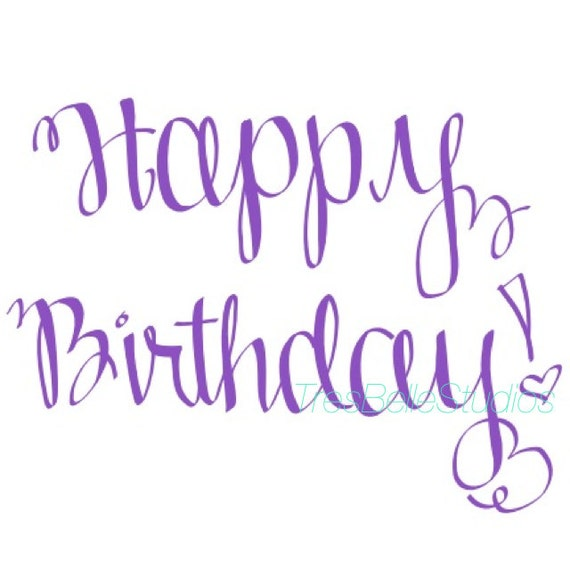 Items similar to custom calligraphy happy birthday stamp
