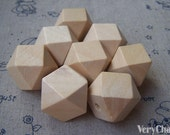Faceted Wood Beads Geometric Figure Solid Beads Findings 21mm Lot of 20 HIGH QUALITY A3736