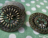 5 pcs of Antique Bronze Filigree Round Pendant Charms 47mm A438