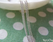 16ft (5m) Shiny Silver Tiny Bead Ball Necklace Chain 1mm A3060