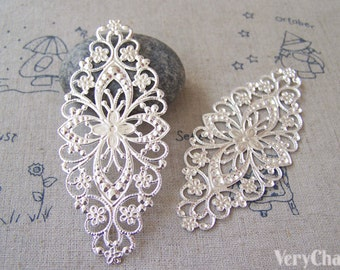 Silver Metal Embellishments Filigree Floral Findings 35x80mm Set of 20 pcs A5179