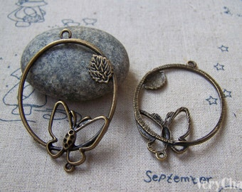 10 pcs of Antique Bronze Filigree Butterfly Leaf  Ring Pendants 35x53mm A5074