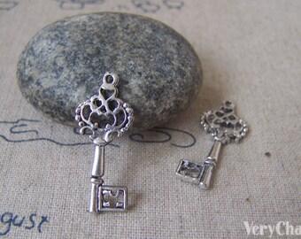 20 pcs of Antique Silver Tibetan Silver Filigree Key Charms 11x25mm A4677