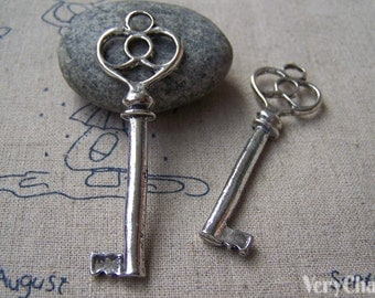 10 pcs of Antique Silver Skeleton Key Pendants Charms 20x62mm A1246