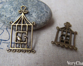 10 pcs of Antique Bronze Filigree Bird Cage Charms 18x32mm A162