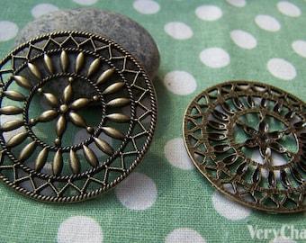 5 pcs of Antique Bronze Filigree Round Pendant Charms 47mm A438