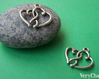 20 pcs of Antique Silver Double Heart Charms 16x20mm A920