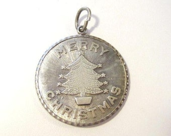 Vintage sterling silver Merry Christmas pendant