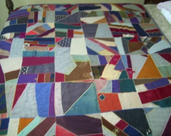Vintage Feather Stitched Quilt
