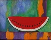 Arte. Pintura acrílica.Sandia roja.
