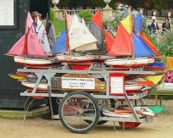 Toy sailboats at Luxembourg Gardens, Paris. 8 x 10 color print. Paris Photography. France.