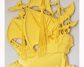 Yellow Sail Away With Me Ship Wall Decor
