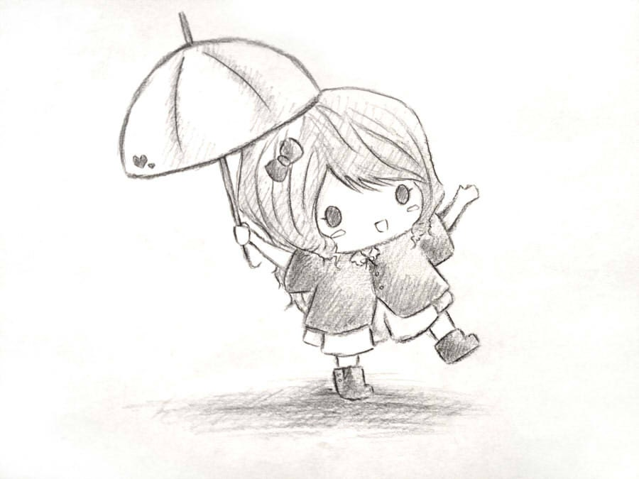 Cute girl drawing umbrella chibi original for How to draw a little girl easy